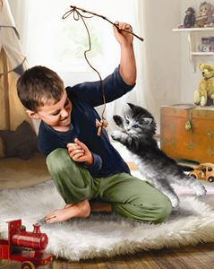 Boy Playing With Kitten II