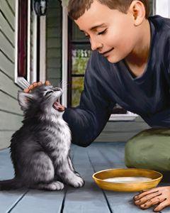 Boy Gives Kitten Some Warm Milk