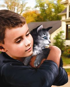 Boy Holding Kitten