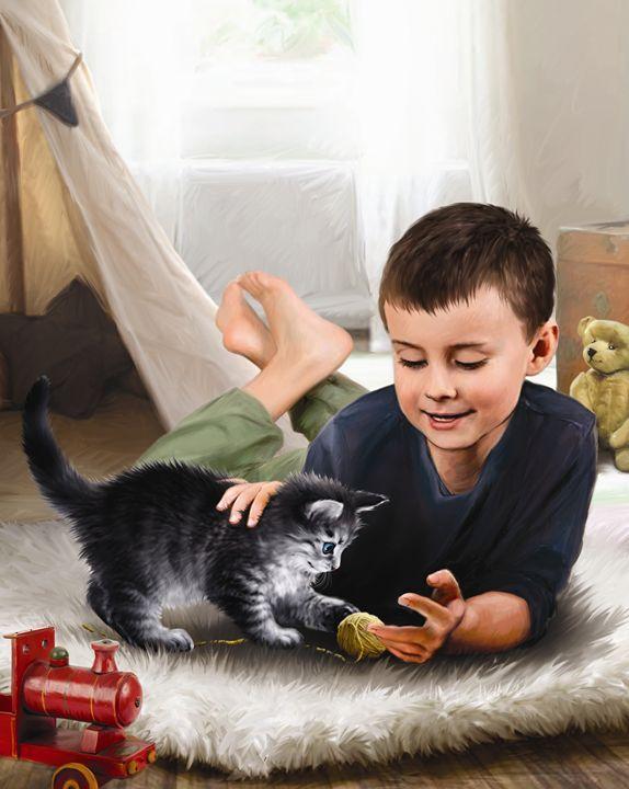 Kitten & Boy Playing I - Aviva Gittle Gifts