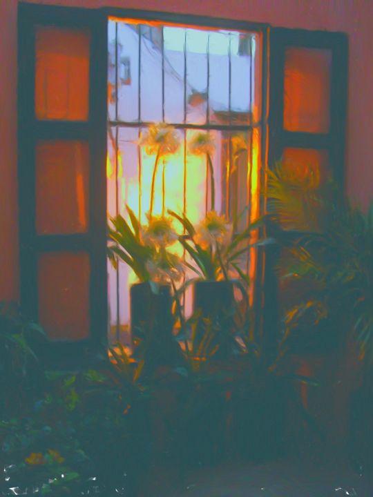 sunset through the french doors - Lisa Welcher Art