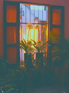 sunset through the french doors