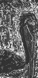 Black ink Woodcut on Grey Paper