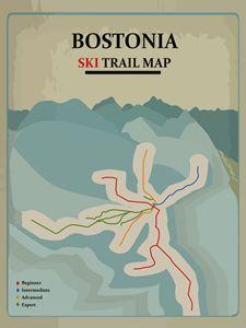 Bostonia Ski Trail Map - Posters