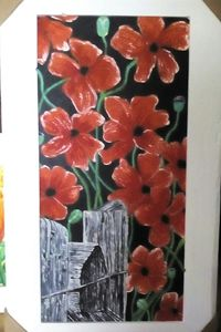 Red Poppies on Fence