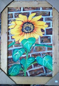 Sunflower on Brick