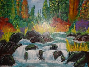 fall colors with waterfall