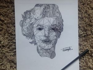 Marilyn Monroe Abstract Ink Drawing