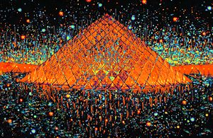 Paris Pyramid at Midnight