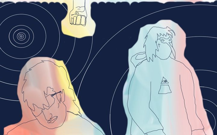 two amigos in a wormhole - Yekuno's art work