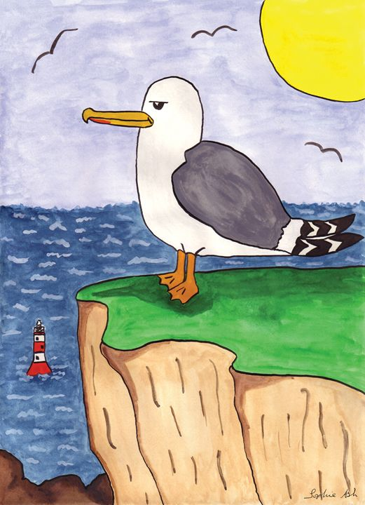 Seagull at Beachy Head - Sophie's Menagerie