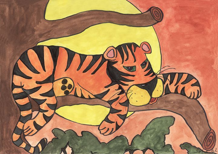 Tiger in Tree - Sophie's Menagerie