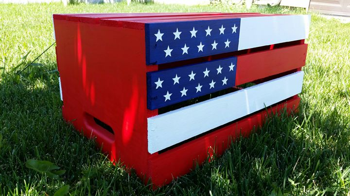 Hand-painted american flag crate - KayLee's Creations