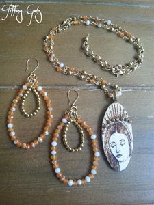 Virgin Mary Necklace & Earring Set