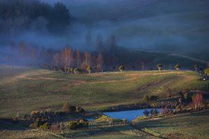 Foggy sunrise on the farm.