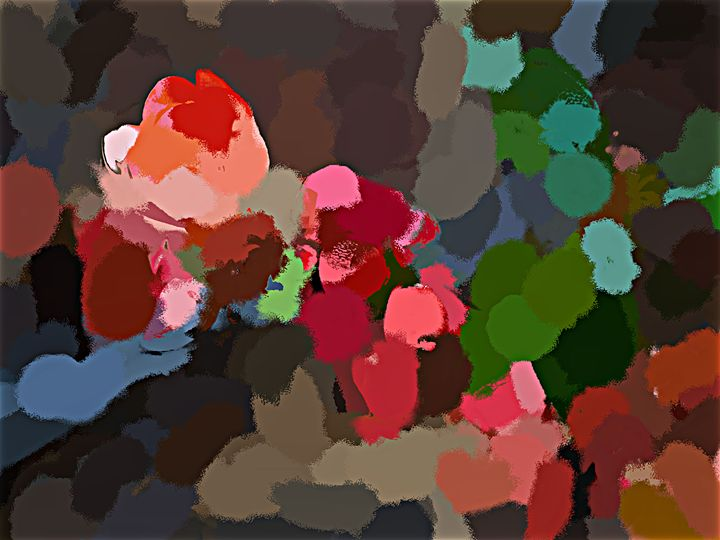 Flat Colored Flowers - Paintings and prints