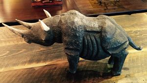Hand Carved Wooden Rino
