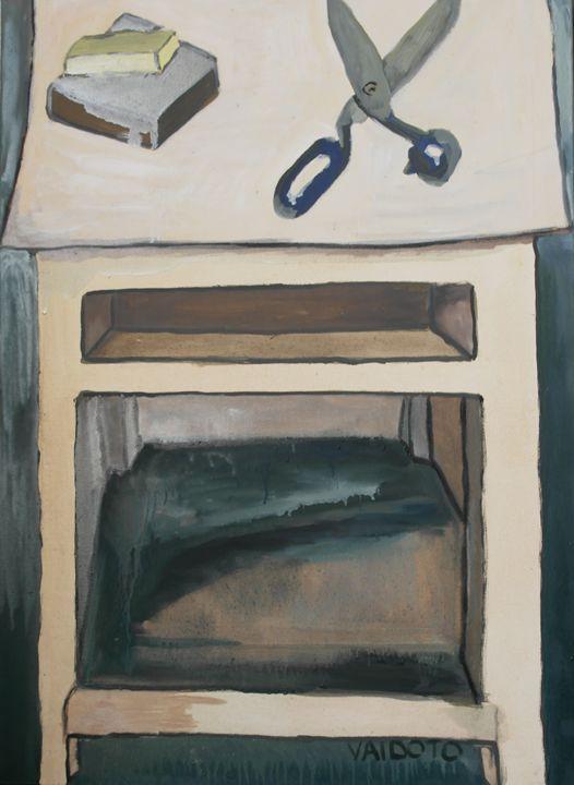 scissors on the nightstand - Vaidoto art