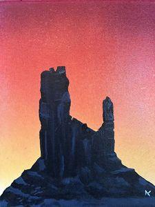 sunset on rock house