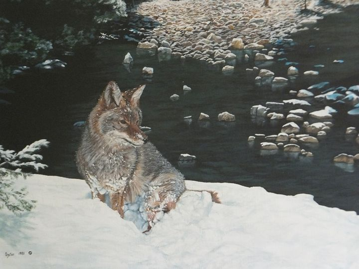 MOUNTAIN STREAM WITH COYOTE detail - Brandtart