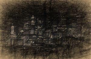 Seattle skyline in charcoal