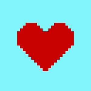 Pixel art heart on blue background - Greyboy_Design