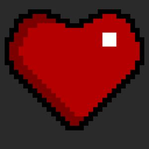 Pixel art heart red on black - Greyboy_Design