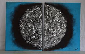 Two piece silver abstract painting
