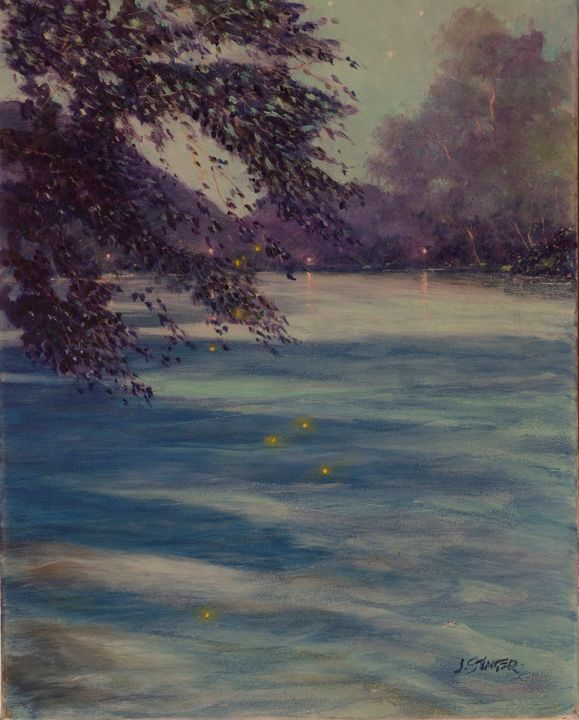 Fire Flies - Delaware River - John Stinger Fine Art