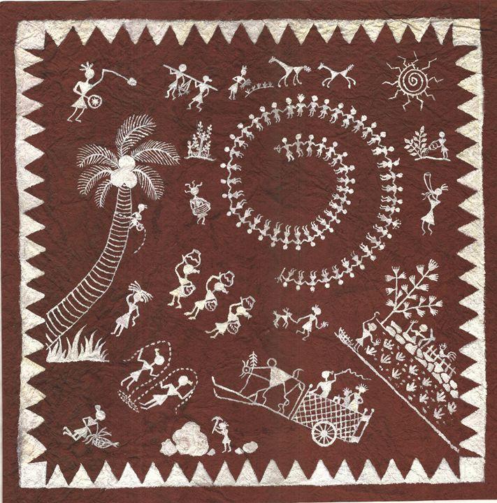 Warli Art- The Village scene. - Purple School of Arts - Art Gallery