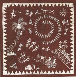 Warli Art- The Village scene.