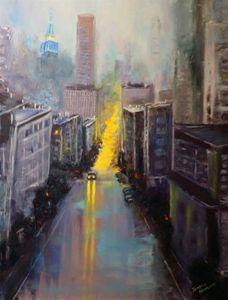 An Evening City. Oil, canvas.