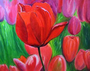 Tulips. Oil, canvas.