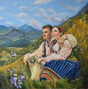 A Couple. Oil, canvas.