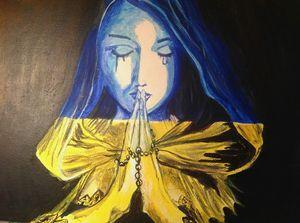 A Praying. Acrylic, canvas.