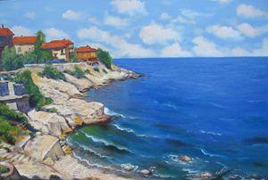 A Mediterranean Sea View, Oil,canvas