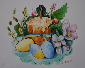 An Easter Bread. Watercolor.