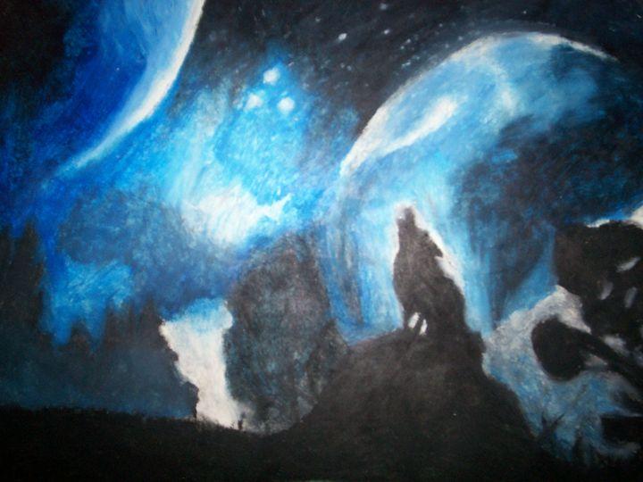 Wolf Howling Pastel - Portrait Hart Studios
