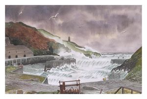Stormy weather over Porthgain in Wal