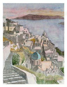 Santorini watercolour
