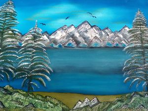 MCE Mountain Side View Oil Painting