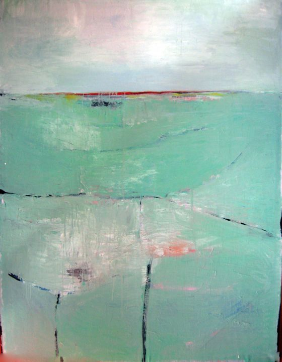 Mint Green Abstract Landscape - Abstract Landscapes