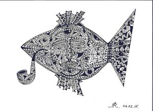 tattooed fish with a pipe
