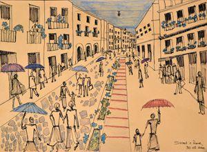 Rainy Street in Rome