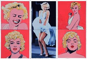 Marilyn Monroe With Sketches - Paintings by John Lautermilch
