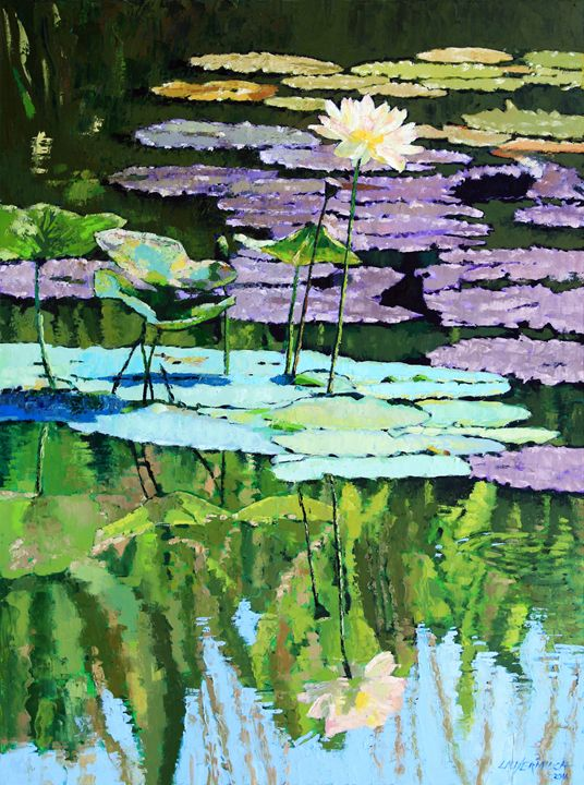 Lotus Reflections - Paintings by John Lautermilch
