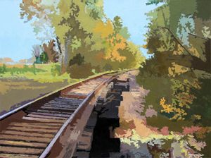 Going Down The Railroad Track - Paintings by John Lautermilch