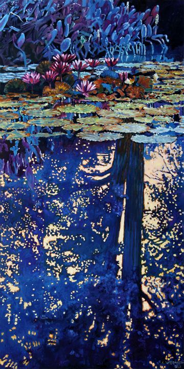 Evening Reflections on the Pond - Paintings by John Lautermilch