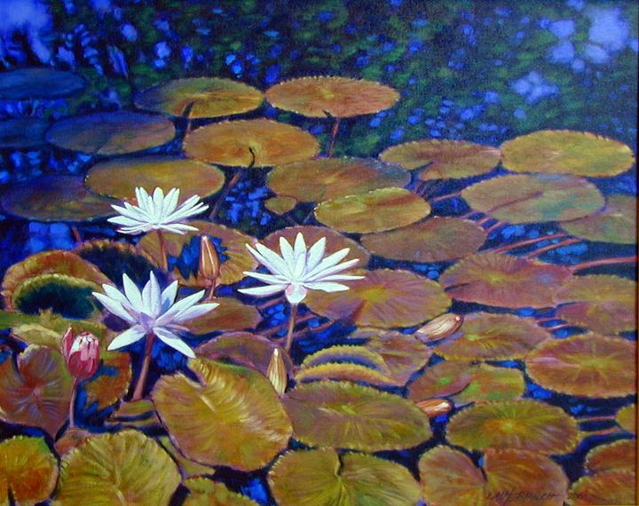 Three White Lilies on the Pond - Paintings by John Lautermilch