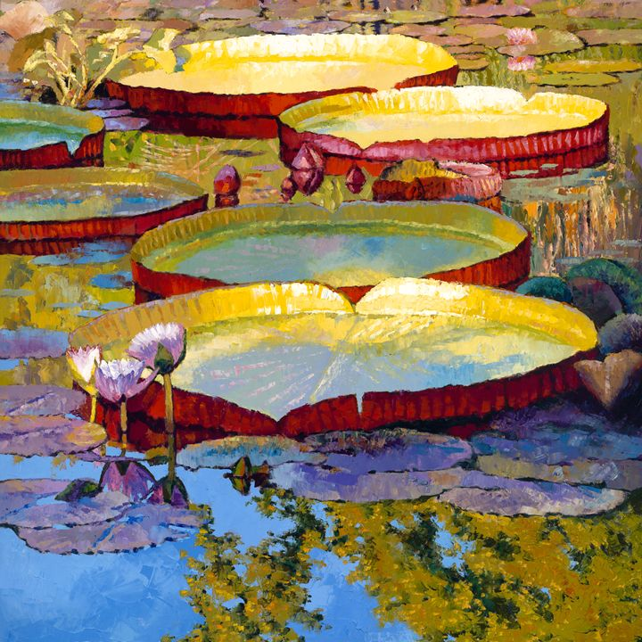 Golden Light on Pond - Paintings by John Lautermilch